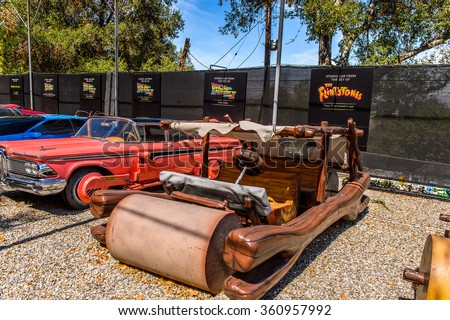 LOS ANGELES, USA - SEP 27, 2015: Flintstone car at the Hollywood Universal Studios. Universal Pictures company was created on June 10, 1912 - stock photo