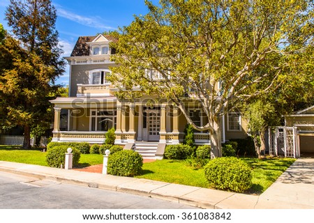 LOS ANGELES, USA - SEP 27, 2015: Housesfrom the Desperate Housewives TV show at the Hollywood Universal Studios. It is an American television comedy-drama-mystery series produced by ABC Studios - stock photo