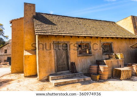 LOS ANGELES, USA - SEP 27, 2015: Old West houses for westerns at the Hollywood Universal Studios. Universal Pictures company was created on June 10, 1912