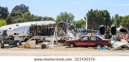 """LOS ANGELES, USA - SEP 27, 2015: Plane crash set for the """"War of the Worlds"""" with Tom Cruise in Universal Studios, Hollywood - stock photo"""