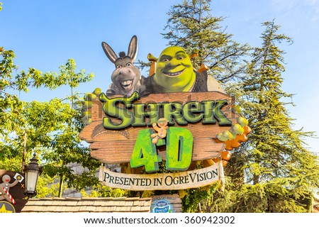 LOS ANGELES, USA - SEP 27, 2015: Shrek area in the Universal Studios Hollywood Park. Shrek is a 2001 animated film produced released by DreamWorks Pictures - stock photo