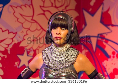 LOS ANGELES, USA - SEP 28, 2015: Whitney Houston in the  Madame Tussauds Hollywood wax museum. Marie Tussaud was born as Marie Grosholtz in 1761 - stock photo