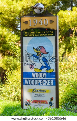 LOS ANGELES, USA - SEP 27, 2015: Woody Woodpecker film poster at the Hollywood Universal Studios. Universal Pictures company was created on June 10, 1912 - stock photo