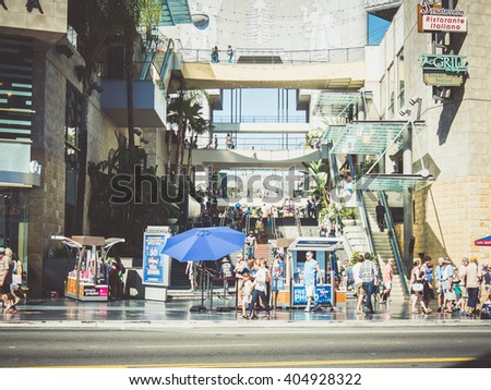 LOS ANGELES, USA - SEPTEMBER 20: Hollywood walk of fame on September 20, 2015 in Los Angeles, United States. It has stars embedded in the sidewalks along Hollywood Boulevard. - stock photo