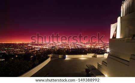 Los Angeles view at night time from Griffith Observatory - stock photo