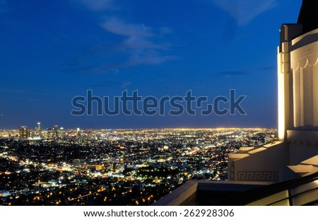 Los Angeles view from Griffith Observatory - stock photo