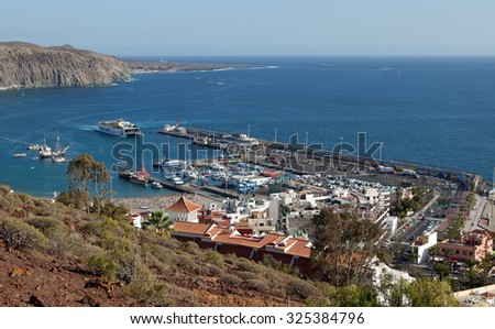 Los Cristianos, Canary Islands - March 25, 2012 - Picture taken from mountain above Los Cristianos, aerial view over Los Christianos and town, Canary Islands, March 25, 2015
