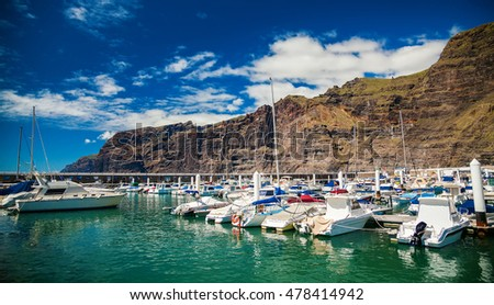 Los Gigantes marina with yachts and boats in Tenerife, Spain