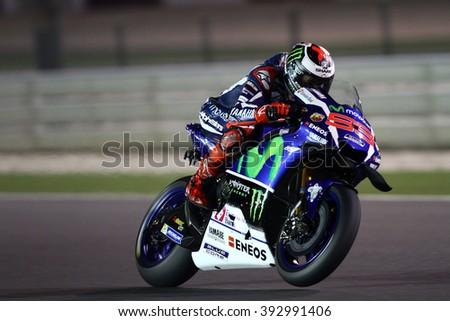 LOSAIL - QATAR, MARCH 18: Spanish Yamaha rider Jorge Lorenzo at 2016 Commercial Bank of Qatar MotoGP at Losail circuit on March 18, 2016 - stock photo