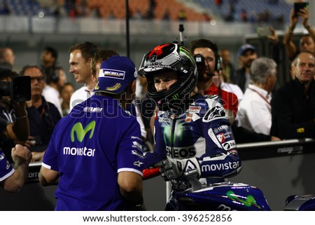 LOSAIL - QATAR, MARCH 20: Spanish Yamaha rider Jorge Lorenzo wins at 2016 Commercial Bank of Qatar MotoGP at Losail circuit on March 20, 2016