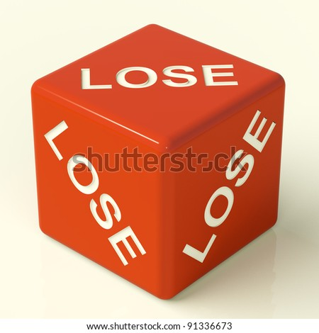 Lose Red Dice Representing Defeat And Failure - stock photo