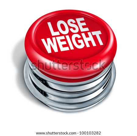 Lose weight fast button as a concept of dieting and healthy eating and low calorie slimming down with nutrition and exercise for human loss of fat and losing pounds for a slimmer body on white - stock photo