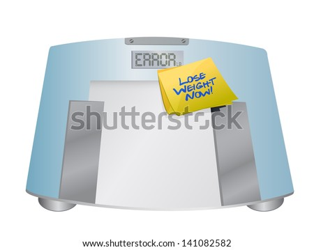 lose weight now sign on a weight scale. illustration design over white - stock photo
