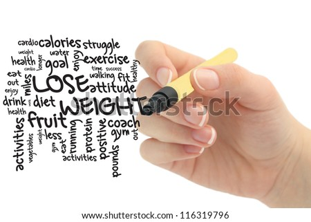 lose weight word cloud on whiteboard - stock photo