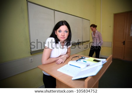 loser student and teacher, brings an evil - stock photo