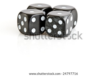 Loser with four one on black dices with white background - stock photo