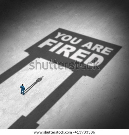 Losing a job business concept as a businessman looking at a cast shadow of a sign with text as a symbol for unemployment or dismissed in the workplace or cutback icon in a 3D illustration style. - stock photo