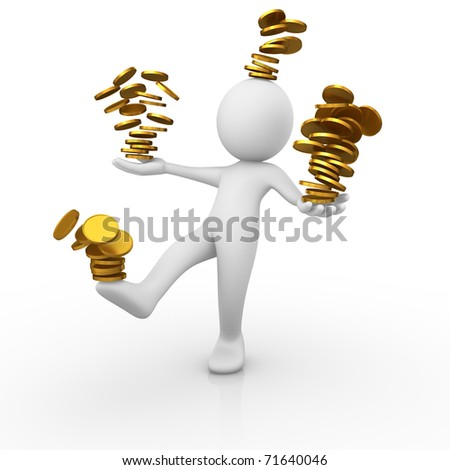 Losing control on his money - stock photo