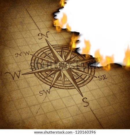 Losing direction and bad business planning and strategy with a compass rose navigation symbol on an old grunge parchment texture burning in flames as confused guidance. - stock photo