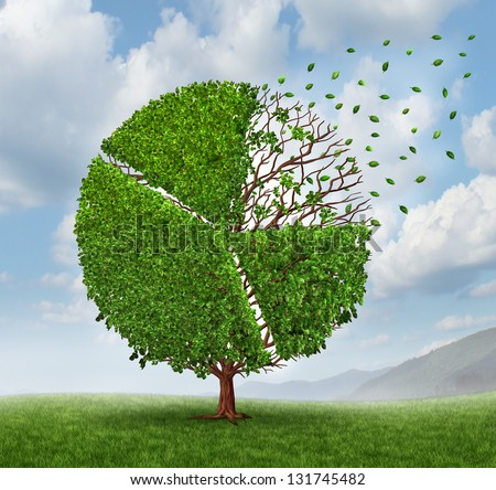 Losing market share pie chart as a growing green tree with leaves flying and falling off as a business concept of competition loss as a financial graph chart symbol of economic challenges. - stock photo
