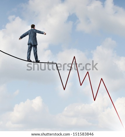 Losing Profit risk and Investment danger as a financial and business concept or metaphor facing wealth adversity as a businessman walking on a high wire tight rope shaped as a downward market graph. - stock photo