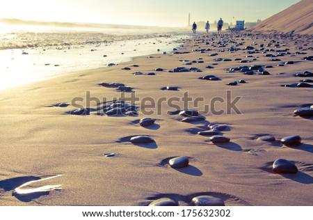 Lospalomas Playa del Ingles beach sand and blue sky in Gran Canaria  - stock photo