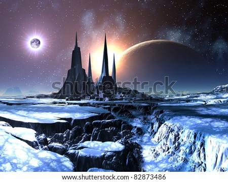 Lost Alien City in Snow - stock photo