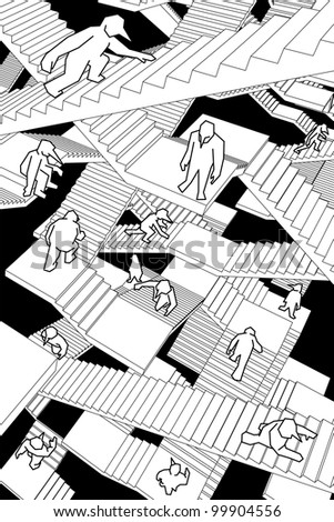 lost and confused people running upwards and downwards a labyrinth of stairs - stock photo