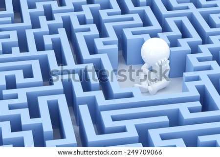 Lost and sad man in center of the maze. 3d Illsuatration - stock photo