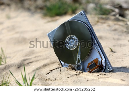lost computer data storage, hard drive, on sand in outdoors - stock photo
