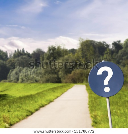 Lost concept with sign and bike road in nature - stock photo