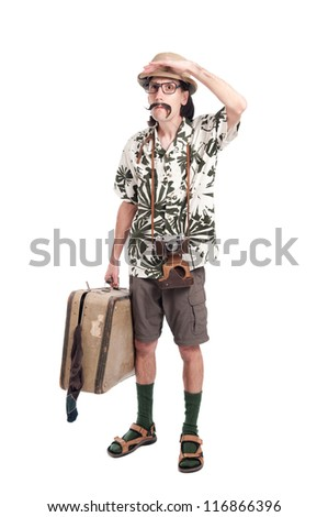Lost funny tourist isolated on white background - stock photo