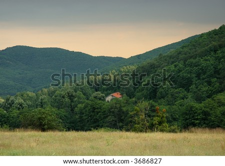 lost house in mountains - stock photo
