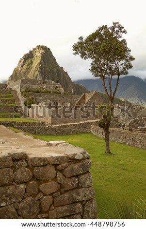 Lost Incan City of Machu Picchu near Cusco in Peru. Peruvian Historical Sanctuary and UNESCO World Heritage Site Since 1983. One of the New Seven Wonders of the World - stock photo