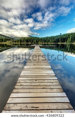 Lost Lake Dock, Whistler, BC - stock photo