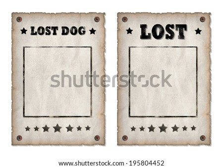 Lost, Lost dog grungy faded posters  - stock photo