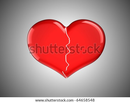 Lost love. Red Broken Heart over grey background - stock photo