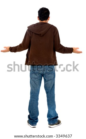 lost man from behind - isolated over a white background - stock photo