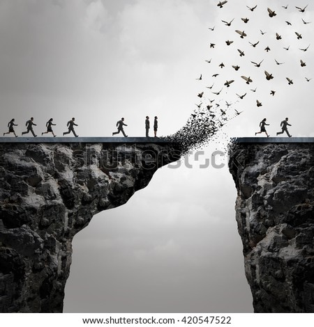 Lost opportunities concept as a too late metaphor with businesspeople running to cross a bridge in time but the link is broken by parts of it flying away shaped as birds in a 3D illustration style. - stock photo