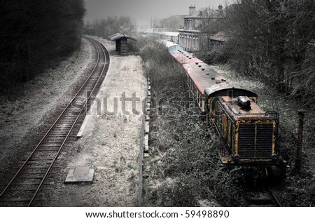 Lost train station somewhere in France - stock photo