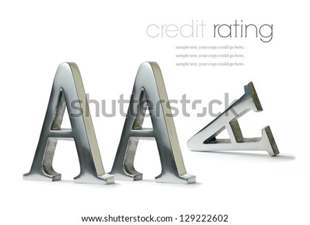 Lost triple A rating concept image. Sign of the times for many economies around the world. Copy space. - stock photo