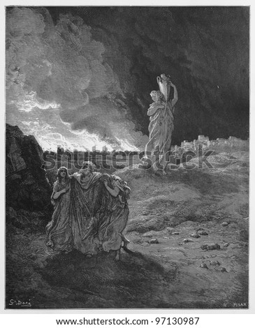 Lot and his family flee from Sodom - Picture from The Holy Scriptures, Old and New Testaments books collection published in 1885, Stuttgart-Germany. Drawings by Gustave Dore. - stock photo