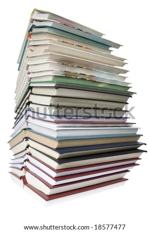 lot of books isolated on white background