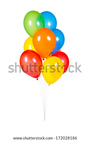 lot of colorful balloons - stock photo