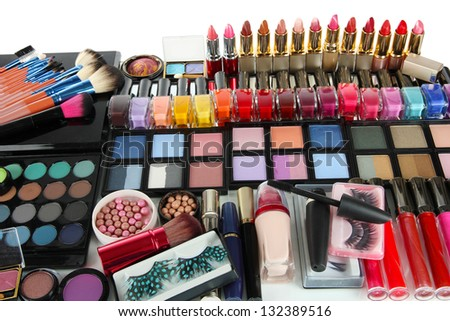 Lot of different cosmetics isolated on white - stock photo