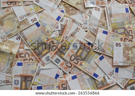 lot of euro banknotes money on the floor - stock photo