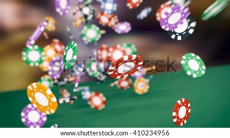 lot of fiches falling on a green table, concept of gambling (3d render) - stock photo