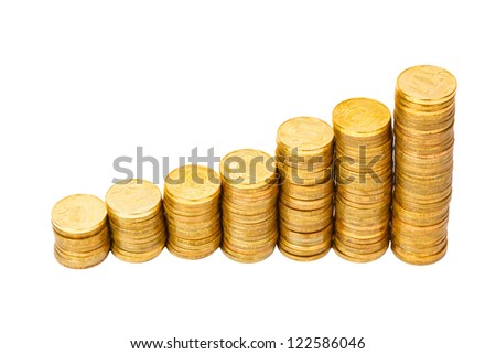 lot of golden coins on white background