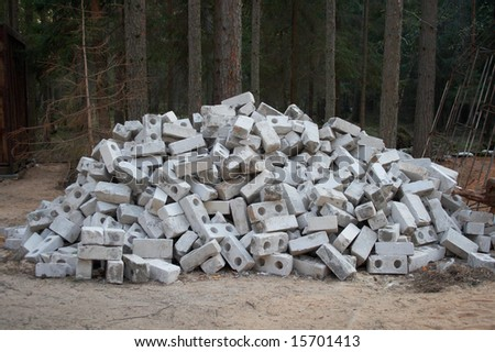 Lot of gray bricks - stock photo