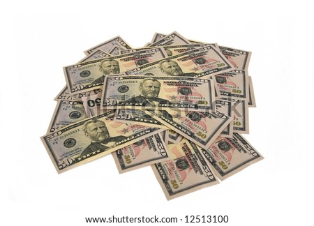 Lot of money from banknotes on 50 dollars.